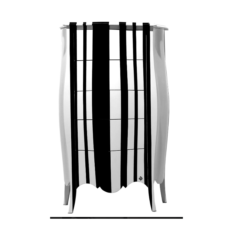 chiffonnier noir et blanc commode 5 tiroirs de luxe barriga milan. Black Bedroom Furniture Sets. Home Design Ideas