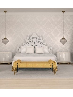 lit baroque et t te de lit blanche de luxe capitonn e 2. Black Bedroom Furniture Sets. Home Design Ideas