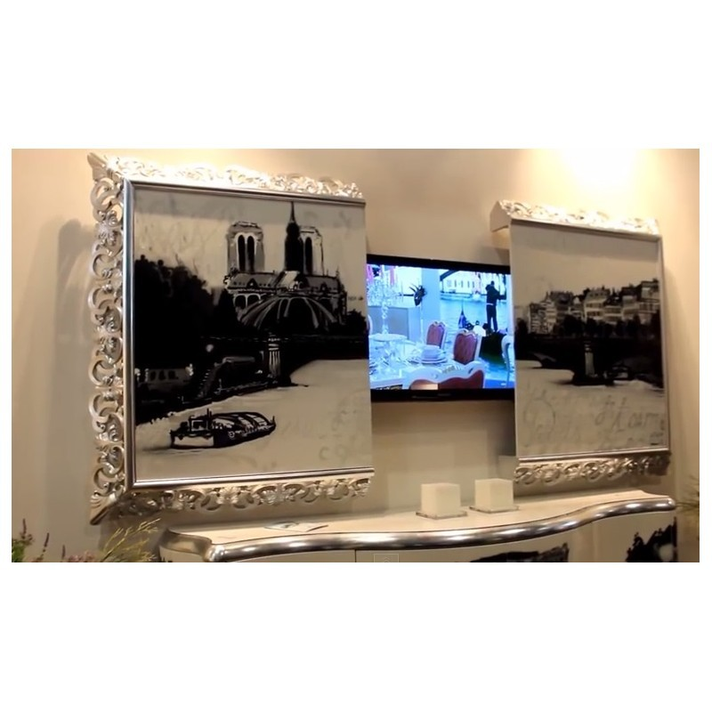 miroir tv int gr e avec d cor moulure or ou argent. Black Bedroom Furniture Sets. Home Design Ideas