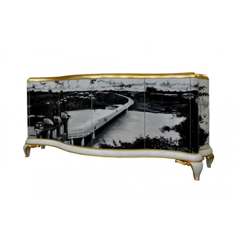 Buffet tag et miroir tv int gr e for Meuble design de luxe