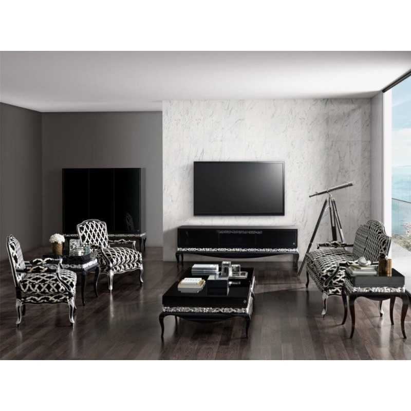 meuble de salon de luxe compos e d 39 un meuble tv canap et fauteuils et table basse. Black Bedroom Furniture Sets. Home Design Ideas