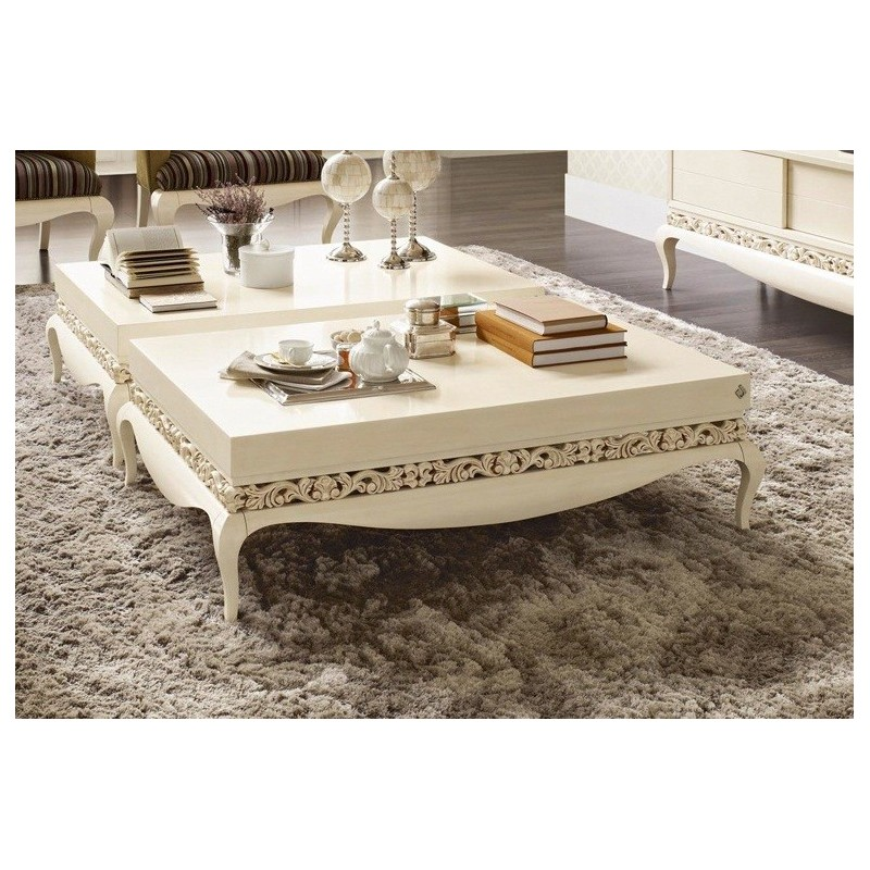 table basse de luxe carr e ou rectangulaire blanche. Black Bedroom Furniture Sets. Home Design Ideas