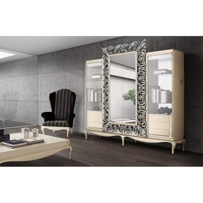 biblioth que avec meuble tv miroir de luxe. Black Bedroom Furniture Sets. Home Design Ideas