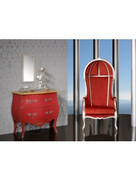 Commode Antiquaire rouge 2 tiroirs