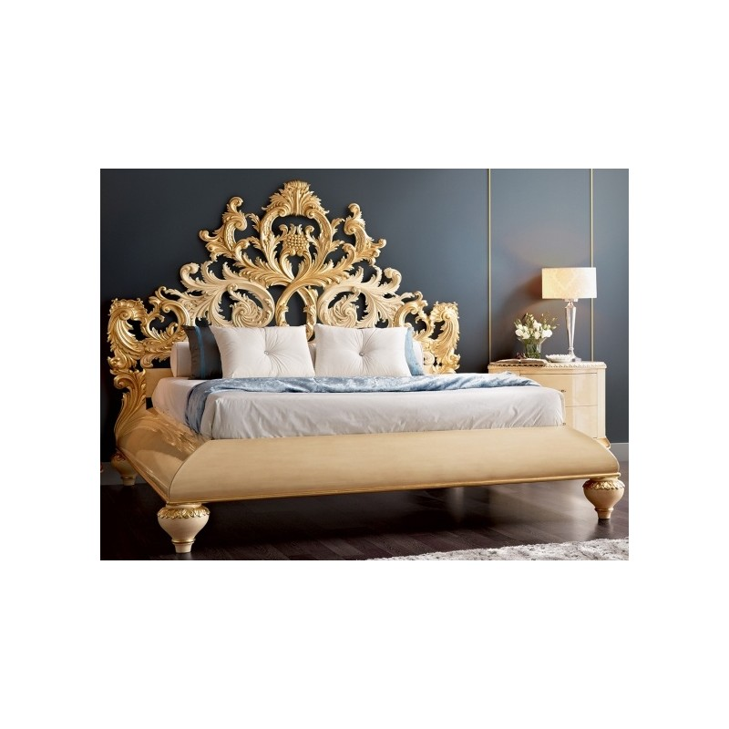 lit baroque et t te de lit de luxe capitonn e 2 personnes. Black Bedroom Furniture Sets. Home Design Ideas