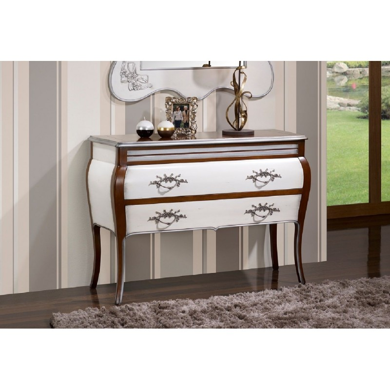 commode antiquaire laqu e 2 tiroirs blanche et marron angeles. Black Bedroom Furniture Sets. Home Design Ideas
