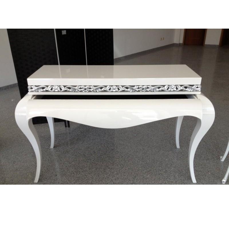 console baroque de luxe ivoire moulure or et argent et miroir meuble d 39 entr e. Black Bedroom Furniture Sets. Home Design Ideas