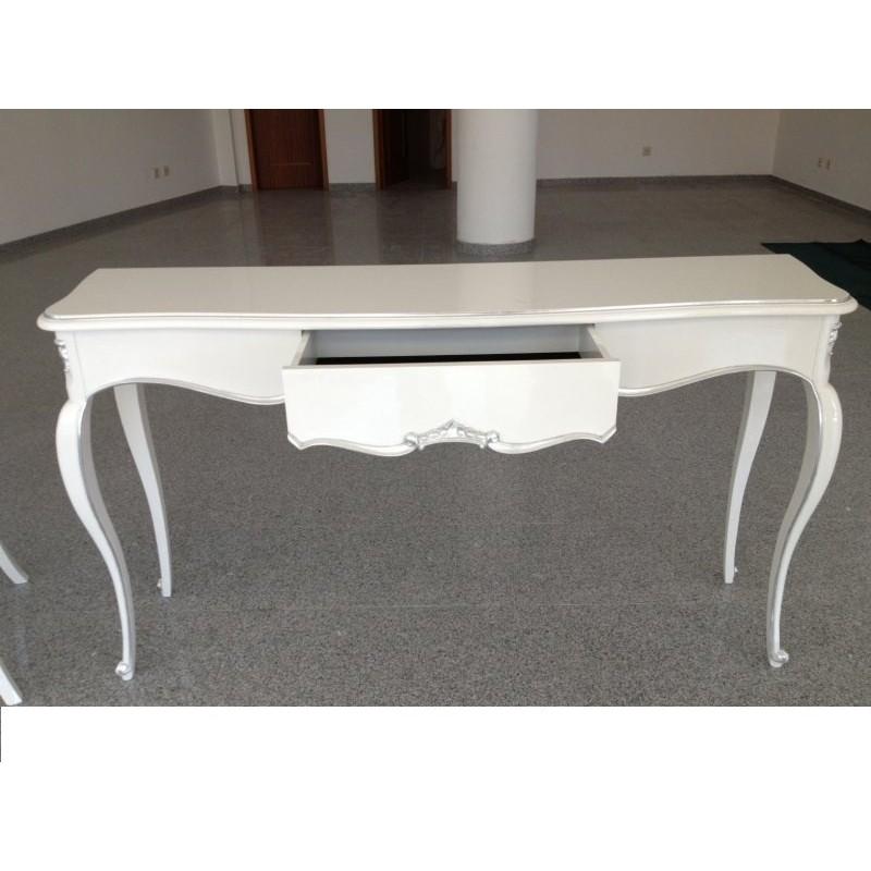 console baroque blanche de luxe 1 tiroir meuble d 39 entr e. Black Bedroom Furniture Sets. Home Design Ideas