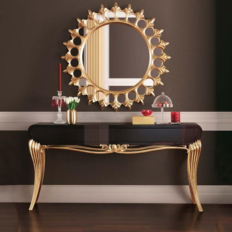 Console De Luxe Noire 1900 Et Miroir Soleil Meuble D Entr 233 E