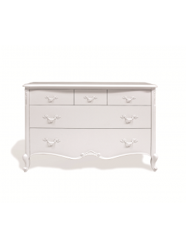 Commode 5 tiroirs blanche Glamour