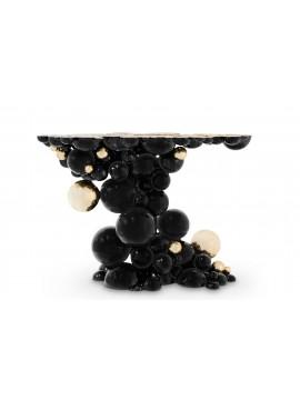 Console Sphère noire plaqué or