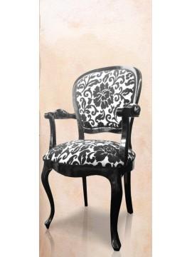 Chaise antiquaire en merisier tissu gris iris meuble de - Chaise noire et blanche ...