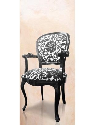 Chaise antiquaire tissu noir et blanc rosas meuble de for Chaise de salle a manger noir et blanc