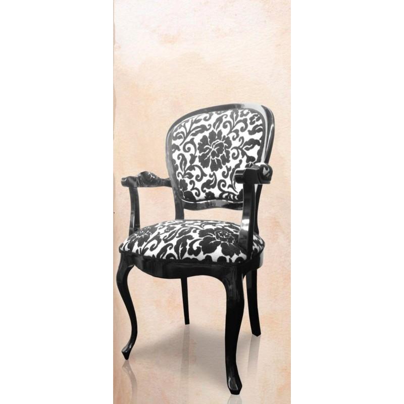 Chaise antiquaire tissu noir et blanc rosas meuble de - Chaise noire et blanche ...