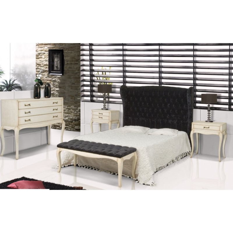 t te de lit antiquaire tissu noire coloniale. Black Bedroom Furniture Sets. Home Design Ideas